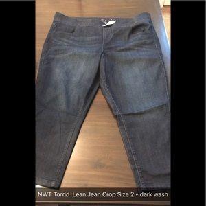 NWT Torrid Lean Jean Crop. Size 2
